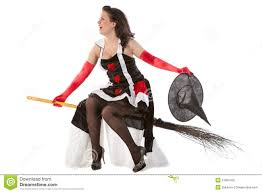 in halloween witch flying on a broom royalty free stock