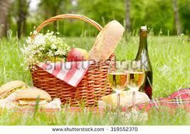 Wine Picnic Baskets Romantic Picnic Basket Wine Grapes Pears Stock Photo 103088207