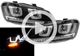 ferrari headlights rhd vw polo 6r 09 14 black drl led projector headlights dynamic
