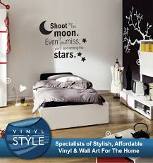 wall decals stickers home decor home furniture diy shoot for the moon stars graphic decor quote sticker wall art various colour