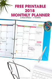 printable weekly calendar for 2018 2018 monthly planner free printable calendar 2 page spread