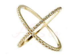 diamond x ring 14k white yellow gold pave diamond x ring ebay