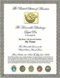honorable discharge certificate the honorable discharge ruptured duck lapel pin display and