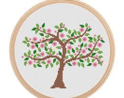 instant set of 4 season tree cross stitch summer