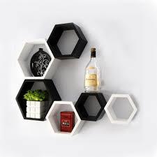 designer hexagon shelves by decornation black u0026 white
