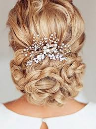 hair combs unicra silvery wedding hair combs with bead and