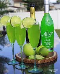 green cocktail alizé apple champagne cocktail giggles gobbles and gulps