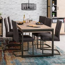 table and 6 chair set metro industrial large 6 seater dining table with 6 chair set the