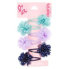 claires hair accessories kids 6 pack polka dot chiffon flower snap hair s