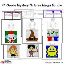 4th grade math mystery pictures coloring worksheets task cards