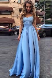 blue dresses strapless light blue lace empire waist fashion evening prom