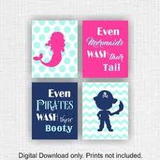 Kids Pirate Bathroom - kid bathroom art print mermaid pirate bath art mermaid pirate