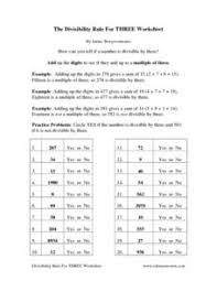 the divisibility rule for three worksheet 4th 5th grade