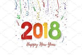 happy new year 2018 objects creative market