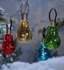 hanging mercury glass edison bulb solar ornament outdoor