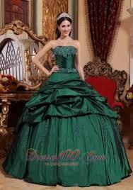 popular emerald green quinceanera dress strapless taffeta beading