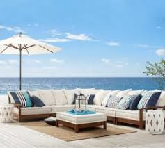 Wooden Outdoor Sofa Sets Outdoor Wood Furniture Pottery Barn