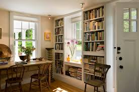 dining room creative bookshelves with double hung window also creative bookshelves with double hung window also rustic wooden table with ceiling lighting also wood floors and flowers arrangement for traditional living