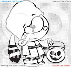 halloween black and white background clipart of a black and white cartoon boy trick or treating in a