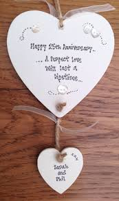 anniversary present shabby personalised gift chic heart plaque 25th 40th 50th