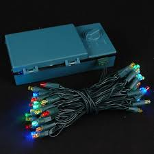 50 led battery operated lights multi on green wire