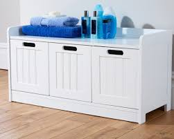 colonial bathroom 3 door storage bench white one stop