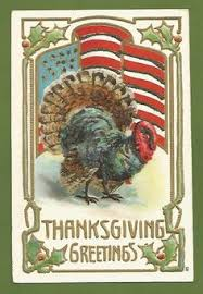 sold vintage postcard thanksgiving greeting a turkey holding a