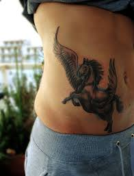 show nice pegasus tattoo design on hip side golfian com