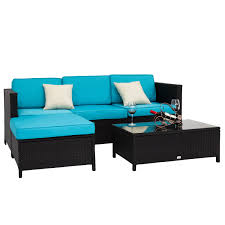 PC Rattan Wicker Sofa Set Cushioned Sectional Outdoor Garden - Outdoor sectional sofas