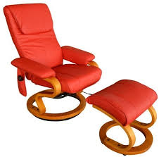 pu tv recliner heated vibrating massage chair w ottoman red