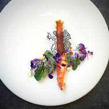 tuile cuisine miso glazed alaskan crab and black squid ink tuile with purple
