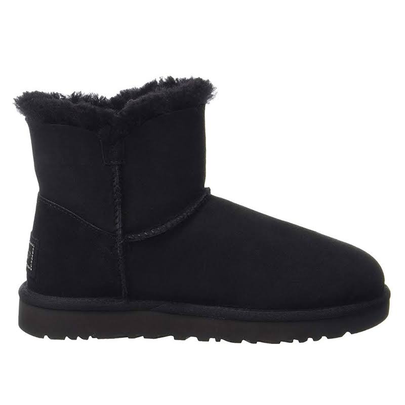 UGG Mini Bailey Bling Button Bling Winter Boots Black 5 M