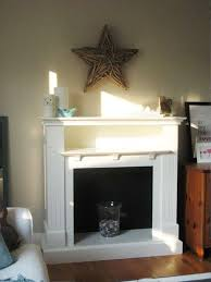 faux fireplace mantel as focal point