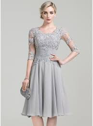 wedding party dresses a line princess scoop neck knee length chiffon of the