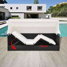 outdoor furniture chaise sun lounger with canopy poly rattan black