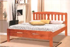 king size solid wood bed frame and railing headboard decofurnish