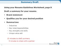 Draft Resume Resume Development Welcome Materials Resume Guidelines Worksheets