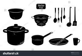 kitchen utensils cooking food silhouettes kitchen stock vector