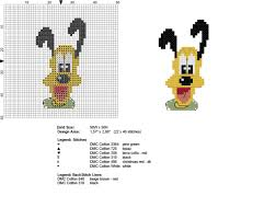 disney pluto face small simple cross stitch pattern baby bibs
