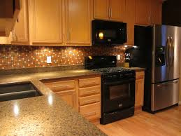 perfect kitchen backsplash ideas with oak cabinets and tile floors