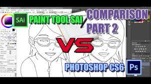 paint tool sai vs photoshop cs6 graphic tab lineart comparison