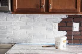 faux brick kitchen backsplash remodelaholic diy whitewashed faux brick backsplash faux brick