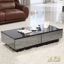 Mirror Living Room Tables Stylish Black Mirror Effect Glass Living Room Coffee Table Storage