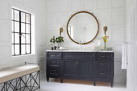 brass bathroom mirrors navy footed washstand with gold pulls transitional bathroom
