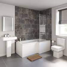 l shaped shower bath glass shower screen towel rail left right complete your bathroom with our full bathroom suite available here