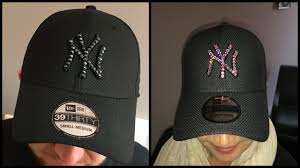 handcrafted new era new york yankees cap with swarovski crystals