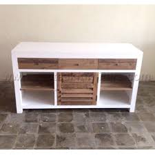 Dresser Desk Combination Furniture Tv Stand 2 Doors 1 Drawer Painted White Combination Recycled Teak