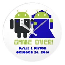 Personalized Wedding Clocks Custom Android Game Over Wedding Wall Clock Giftsmate