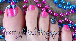 prettyfulz konad pedicure cute spring bright pink u0026 blue