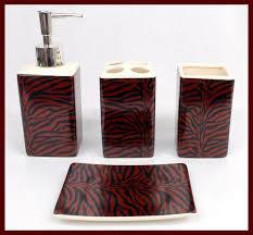 Black Bathroom Accessories by Black U0026 White Striped 4 Piece Ceramic Bathroom Accessories Set